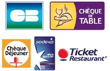 Food Truck Angers : Moyens de paiement : carte bleue, chèque de table, chèque déjeuner, sodexo, ticket restaurant